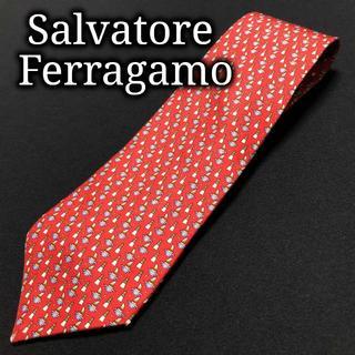 サルヴァトーレフェラガモ(Salvatore Ferragamo)のフェラガモ 灯台とヨット レッド ネクタイ A102-R23(ネクタイ)