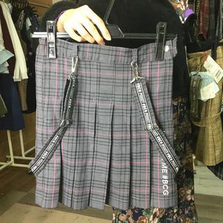 同梱限定 定価11800円サス付きグレンチェックプリーツスカート グレー150