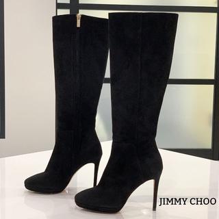 ジミーチュウ(JIMMY CHOO)の1374 美品 ジミーチュウ スエード ロングブーツ 黒(ブーツ)