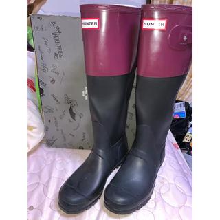 ハンター(HUNTER)のHUNTER ロングレインブーツ ワインレッド&ブラック(レインブーツ/長靴)