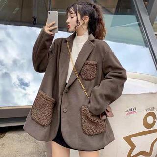 ポケットボアジャケット 韓国ファッション レディース  かわいい もこもこ(テーラードジャケット)