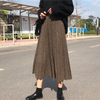 着回し抜群! ニットプリーツスカート ミモレ丈 ブラウン フリーサイズ (ロングスカート)