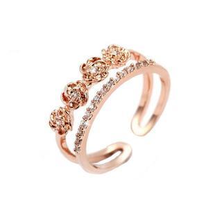 18金ピンクゴールドフィルド ダイヤモンドcz フラワー ビジュー リング(リング(指輪))