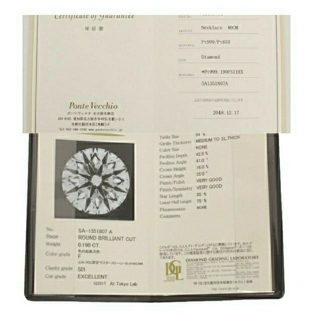 PonteVecchio(ポンテヴェキオ)のポンテヴェキオ ネックレス pt 0.190 レディースのアクセサリー(ネックレス)の商品写真