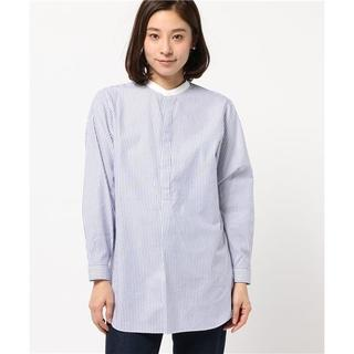 LE GLAZIK - LE GLAZIK ルグラジック バンドカラーシャツ ストライプ ブルー