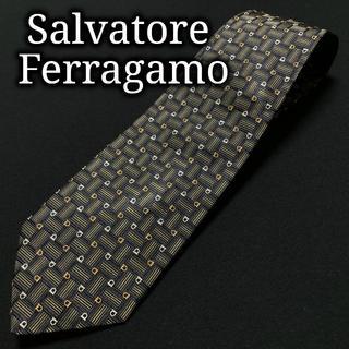 サルヴァトーレフェラガモ(Salvatore Ferragamo)のフェラガモ スクエアチェック ネイビー&グレー ネクタイ A102-T21(ネクタイ)