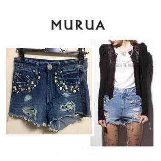 ムルーア(MURUA)のMURUA スタッズデニムショートパンツ(ショートパンツ)