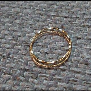 K18YG2連リング 7号 ピンキーリング ファランジリング(リング(指輪))