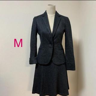 UNTITLED - アンタイトル チャコールグレー ウール フレアスカート スーツ