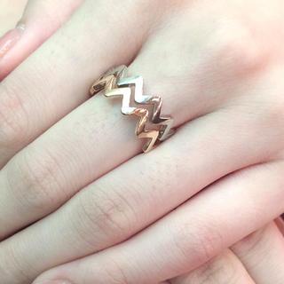 ウェーブリング ゴールド シルバー 2連(リング(指輪))
