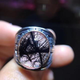 【天然】ブラックルチルクォーツ リング s925 15.3x13.1mm (リング(指輪))