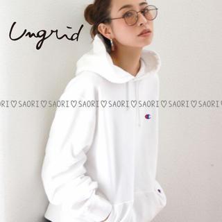 Ungrid - ungrid【新品タグ付】Championフード刺繍ビッグスウェット