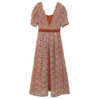 Lily Brown - レイヤード刺繍チュールワンピース