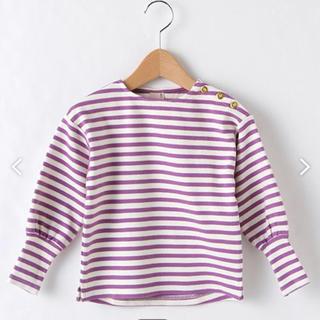 petit main - プティマイン ボーダーゴールドボタントレーナー Tシャツ 110 100 90