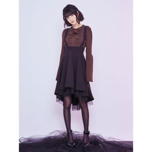 EATME(イートミー)のEAT ME♡チュールコンビイレヘムスカート ブラック♡新品 レディースのスカート(ひざ丈スカート)の商品写真