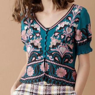 GRACE CONTINENTAL - グレースコンチネンタル  半袖刺繍トップ