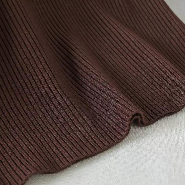 ZARA(ザラ)のハイネックリブニット ブラウン インポート レディースのトップス(ニット/セーター)の商品写真