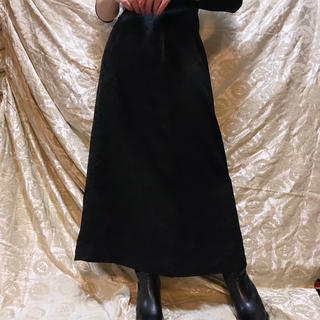 ロキエ(Lochie)のvintage ロングスカート フレアスカート 花柄 ブラック ビンテージ(ロングスカート)