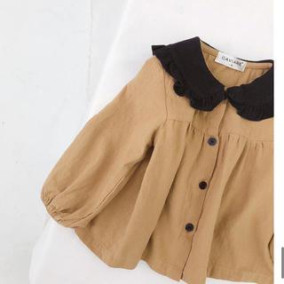 ZARA KIDS - 韓国こども服 フリル ブラウス 襟 黒×キャメル ベビー服 こどもビームス