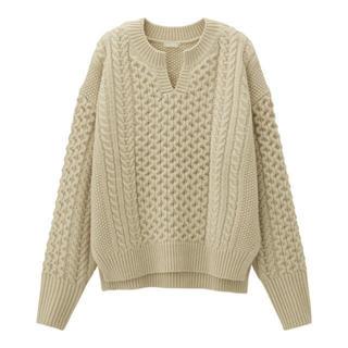 GU - GU ケーブルキーネックセーター XL