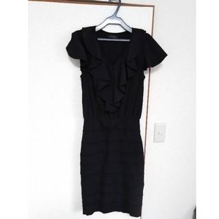 BCBGMAXAZRIA - デュラスアンビエント フリル ブラック ワンピース ドレス