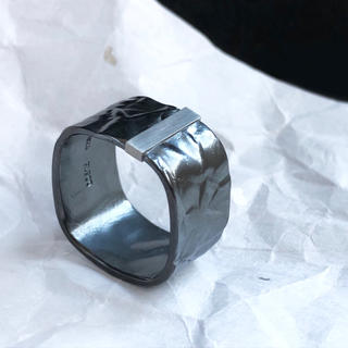 Oxidized silver platinum bar ring RS(リング(指輪))
