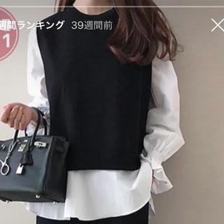 ZARA - daily look フリルシャツ+ニットベスト