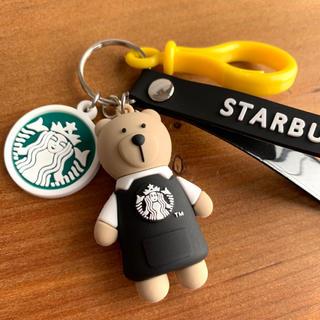 スターバックスコーヒー(Starbucks Coffee)のスターバックス ☆ベアリスタ☆キーホルダー ストラップ・ブラック(キーホルダー)