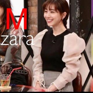 ザラ(ZARA)の新品 ザラ オーガンザスリーブ セーター ニット M(シャツ/ブラウス(長袖/七分))