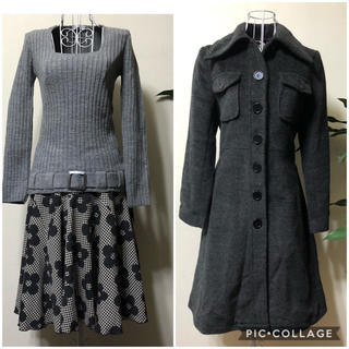 armoire caprice - armoire caprice🌸コート&フレアースカート&ニットセーターセット