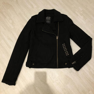 ムルーア(MURUA)のMURUA ムルーア ボアライダースジャケット コート スタッズ S(ライダースジャケット)