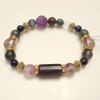 deanna様専用「宝珠の紫香」アメジストとレピドライトの天然石ブレスレット(ブレスレット/バングル)
