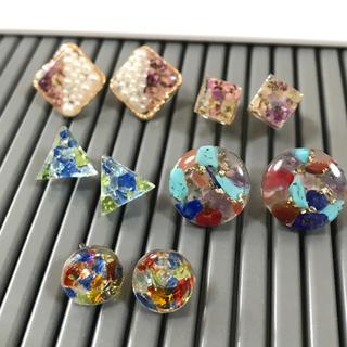 未使用ハンドメイド  レジン樹脂ピアス5点セット 押し花 ドライフラワー 天然石(ピアス)