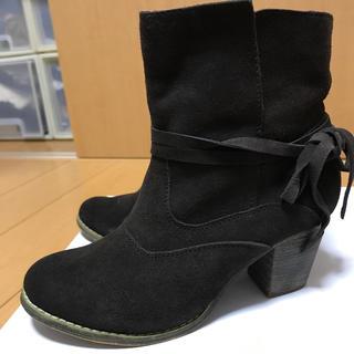 スウェード ショートブーツ   36 23cm 焦げ茶(ブーツ)