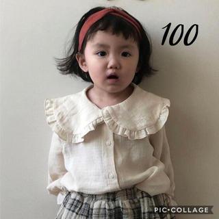 ZARA KIDS - 新品◆ 襟付き コットンブラウス 100 韓国こども服 ナチュラル 韓国子供服
