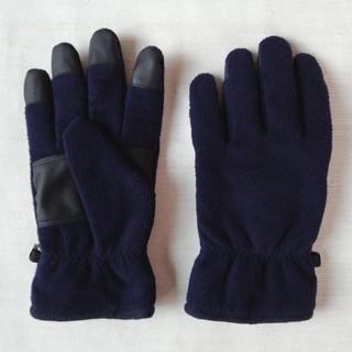 ユニクロ(UNIQLO)のUNIQLO ヒートテックライナー フリース グローブ(紺色)(手袋)
