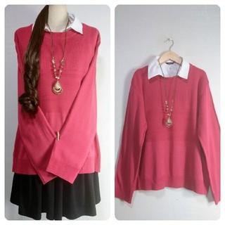 春新品♪4L大きいサイズ♪シャツ襟付ニット♪ピンク(ニット/セーター)