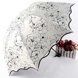 折りたたみ傘 芙蓉の花  晴雨兼用 日傘 UVカット 紫外線遮蔽率99%(傘)