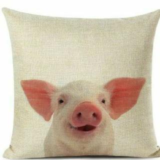 【未使用】 クッションカバー 豚 ブタ ミニブタ 動物 アニマル ベイブ ピンク