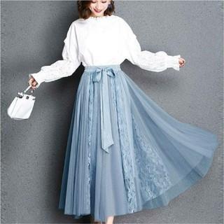 最終値下げ☆ウエストリボンシフォンレースロングスカート ブルー お出かけ 衣装(ロングスカート)