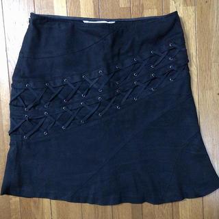 ピンキーアンドダイアン(Pinky&Dianne)のPinky&dianne 編み上げリボン スエードタイトスカート M(ひざ丈スカート)