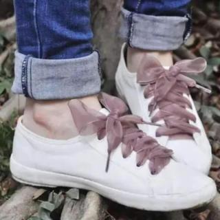 新品!リボン 靴紐 オーガンジー シューレース モスピンク(その他)