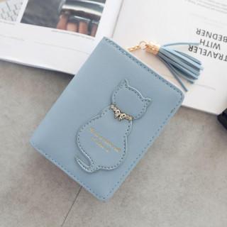 ブルー 財布 レディース 二つ折り コンパクト 猫柄 小銭入れ 革 レザー(財布)