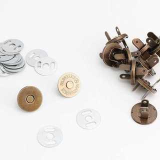 差込式 薄型マグネットホック 18mm アンティークゴールド 10組 h189(各種パーツ)