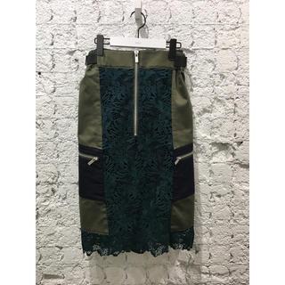 サカイ(sacai)のsacai❣️新品 定価10万 ミディ丈 レースデザインスカート タグ付き(ひざ丈スカート)