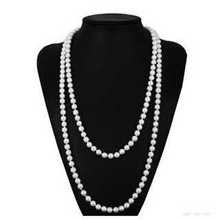 真珠 パール ロングネックレス 150cm 8mm 冠婚葬祭 結婚式 ドレス(ネックレス)