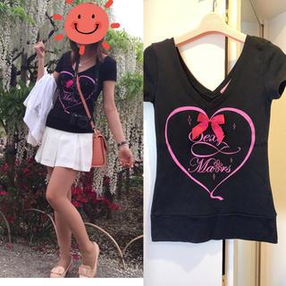 マーズ(MA*RS)のMA*RS♡ ワイドネックリボンTシャツ ブラック×ピンク(Tシャツ(半袖/袖なし))