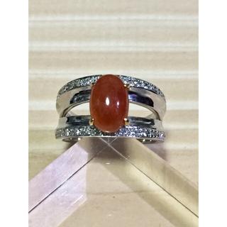 プラチナ.18金 紅ヒスイリング(リング(指輪))