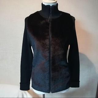 カパルア(KAPALUA)のジャケット 上着 防寒 黒 フェイクファー リブ編み ブラック 日本製 カパルア(ブルゾン)