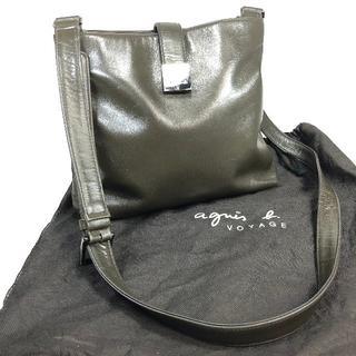 アニエスベー(agnes b.)のアニエスベーボヤージュ ショルダー ダークカーキ レザー 保存袋付(ショルダーバッグ)